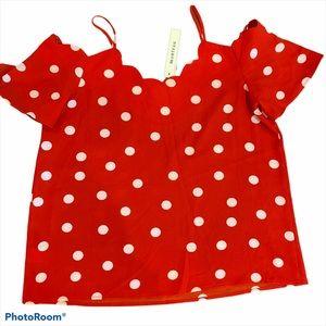 Monteau Blouse Red w/White Polka Dots sz Medium